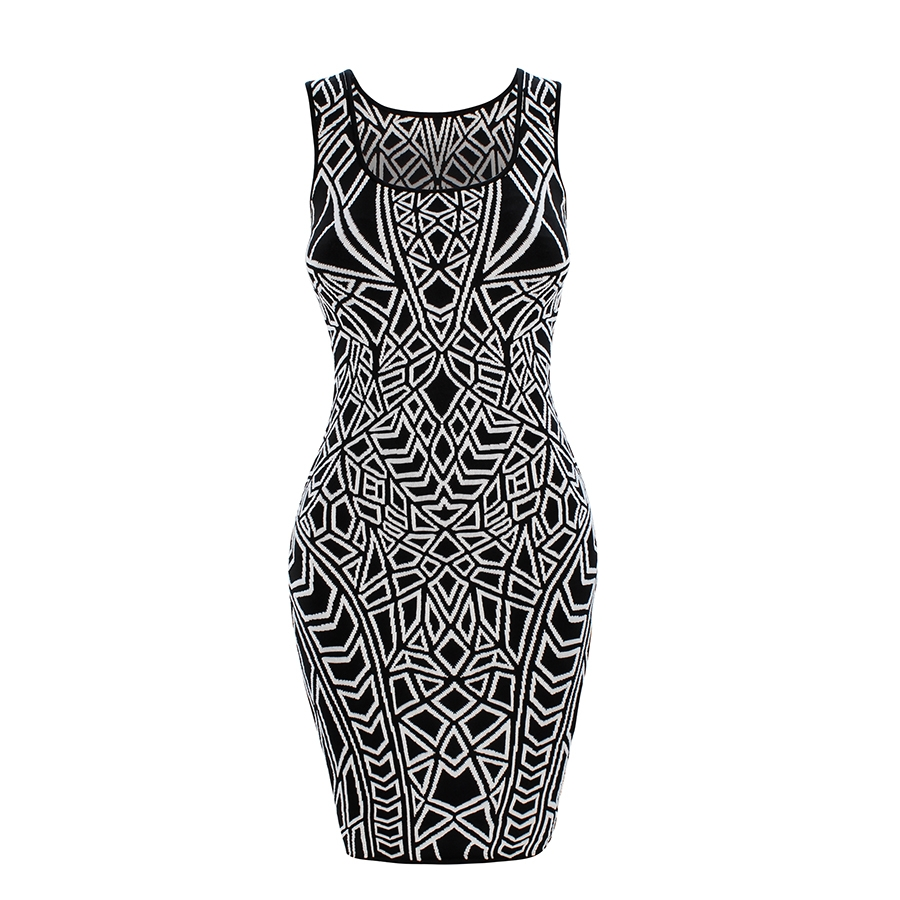 U-Neck Geo Jacquard Signature Dress