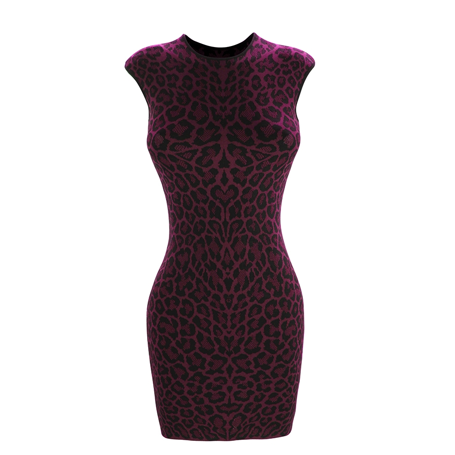 Leopard Jacquard Mini Dress