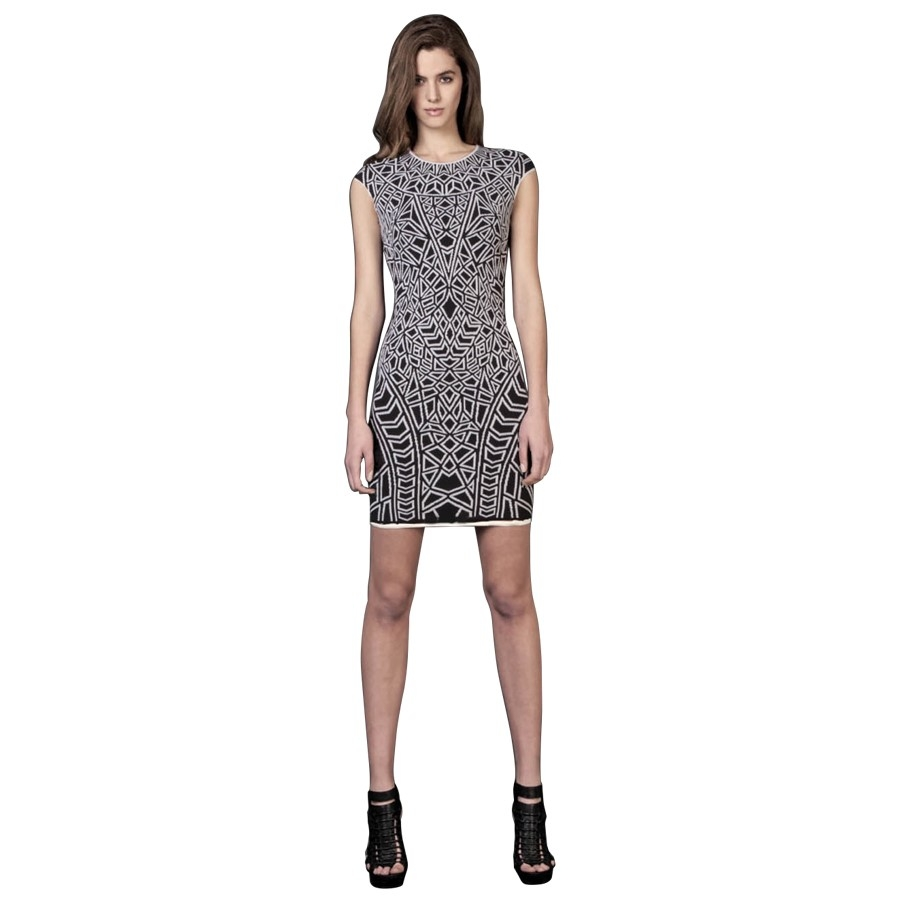 Geo Textured Jacquard Mini Dress