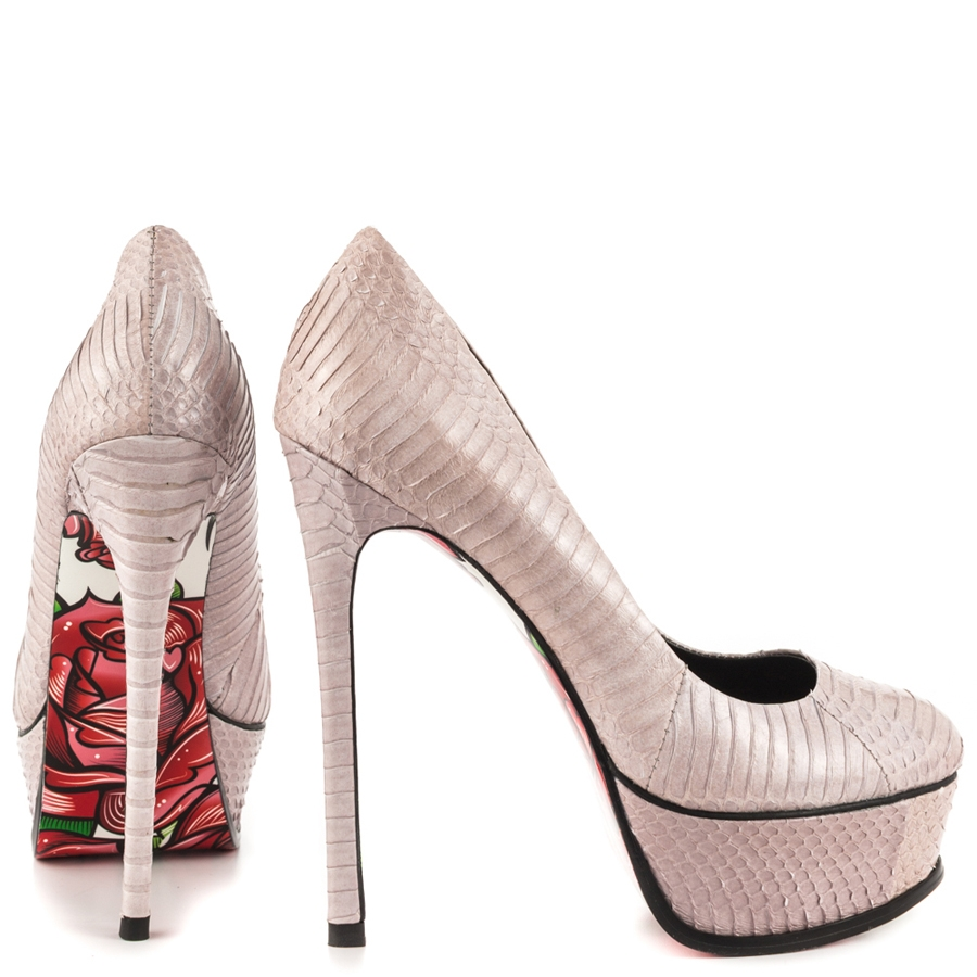 Rozay Snake Printed Leather Platforms