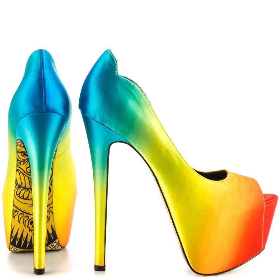 Tiki Gaga Rainbow Satin Platforms